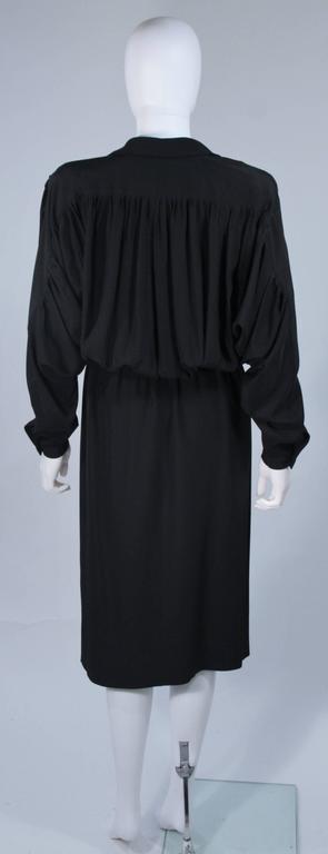 CHANEL Black Silk Draped Secretary Style Dress Size 2  8