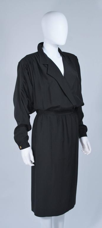 CHANEL Black Silk Draped Secretary Style Dress Size 2  5