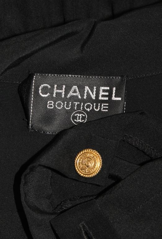 CHANEL Black Silk Draped Secretary Style Dress Size 2  9