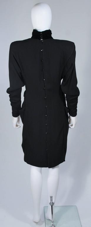 EMANUEL UNGARO 1980s Silk Long Sleeve Dress with Velvet Trim Size 8 For Sale 3