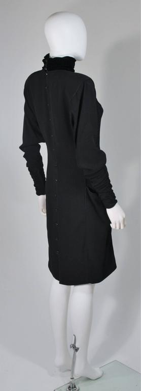 EMANUEL UNGARO 1980s Silk Long Sleeve Dress with Velvet Trim Size 8 For Sale 2