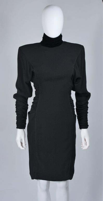 Black EMANUEL UNGARO 1980s Silk Long Sleeve Dress with Velvet Trim Size 8 For Sale
