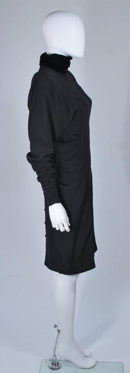 EMANUEL UNGARO 1980s Silk Long Sleeve Dress with Velvet Trim Size 8 For Sale 1
