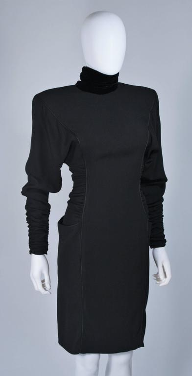 Women's EMANUEL UNGARO 1980s Silk Long Sleeve Dress with Velvet Trim Size 8 For Sale