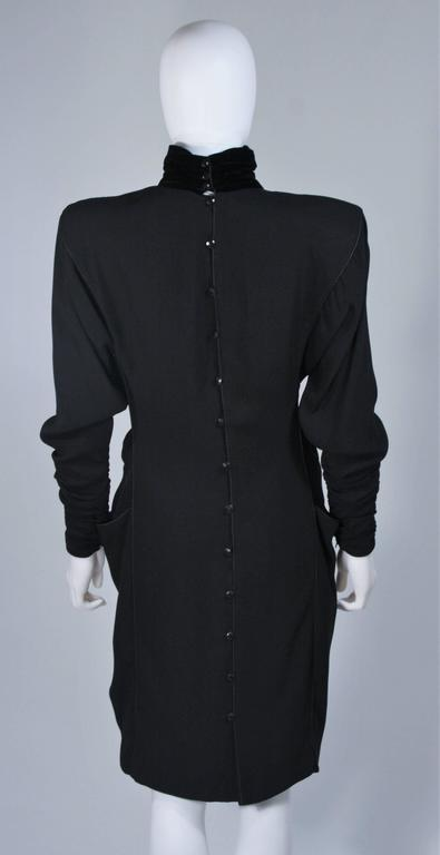 EMANUEL UNGARO 1980s Silk Long Sleeve Dress with Velvet Trim Size 8 For Sale 4