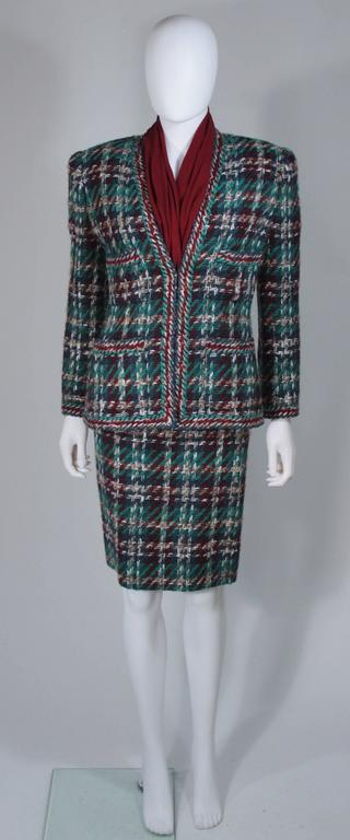 CHANEL COUTURE Wool Boucle and Silk Skirt Suit Ensemble 3 Piece Size 4-6 2