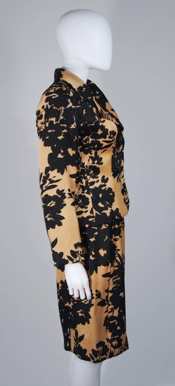 GIVENCHY Circa 1980s Apricot Brown and Black Floral Print Suit Size 6-8 For Sale 1