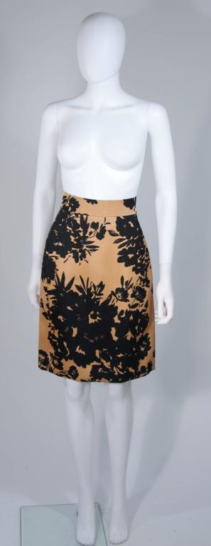 GIVENCHY Circa 1980s Apricot Brown and Black Floral Print Suit Size 6-8 For Sale 4
