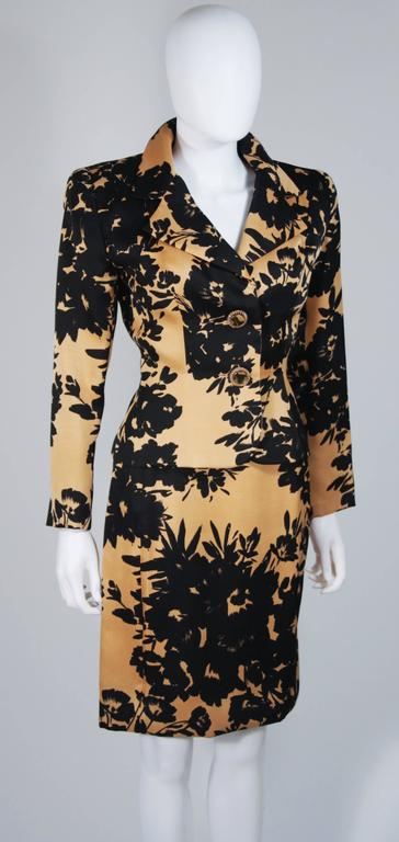 Women's GIVENCHY Circa 1980s Apricot Brown and Black Floral Print Suit Size 6-8 For Sale