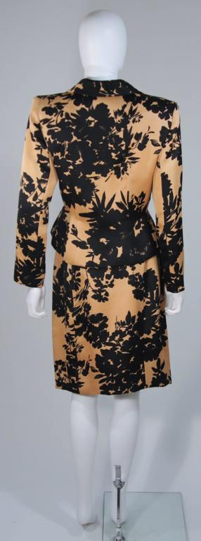 GIVENCHY Circa 1980s Apricot Brown and Black Floral Print Suit Size 6-8 For Sale 2