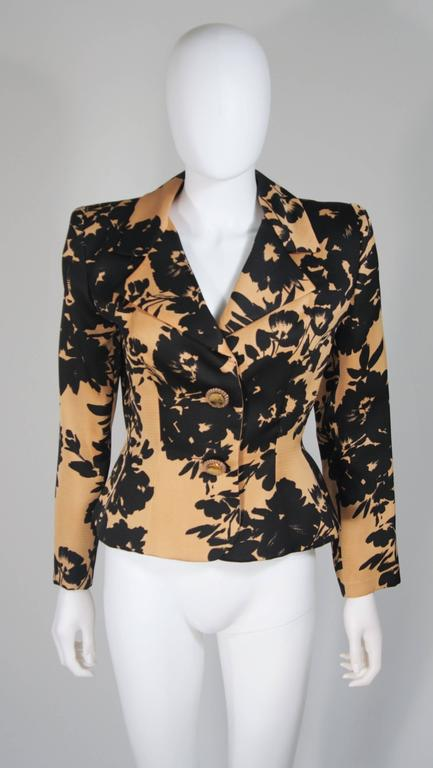 GIVENCHY Circa 1980s Apricot Brown and Black Floral Print Suit Size 6-8 For Sale 3