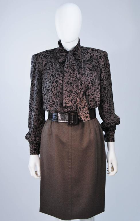GIVENCHY COUTURE Wool Silk & Snakeskin 4pc Skirt Suit with Belt Size 4-6 3