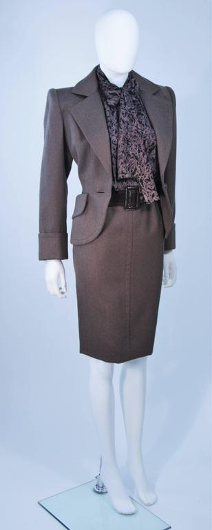 GIVENCHY COUTURE Wool Silk & Snakeskin 4pc Skirt Suit with Belt Size 4-6 In Excellent Condition For Sale In Los Angeles, CA