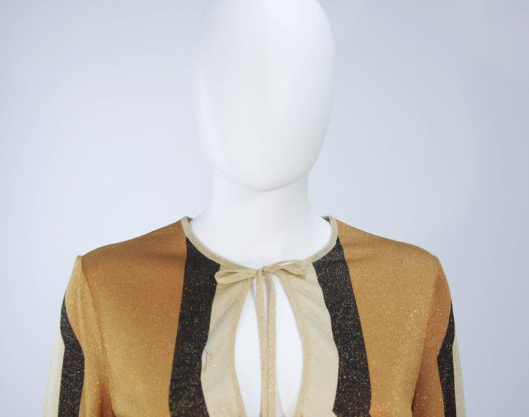 GUCCI Gold Brown and Sand Lurex Knit Tie Front Blouse Size M 3