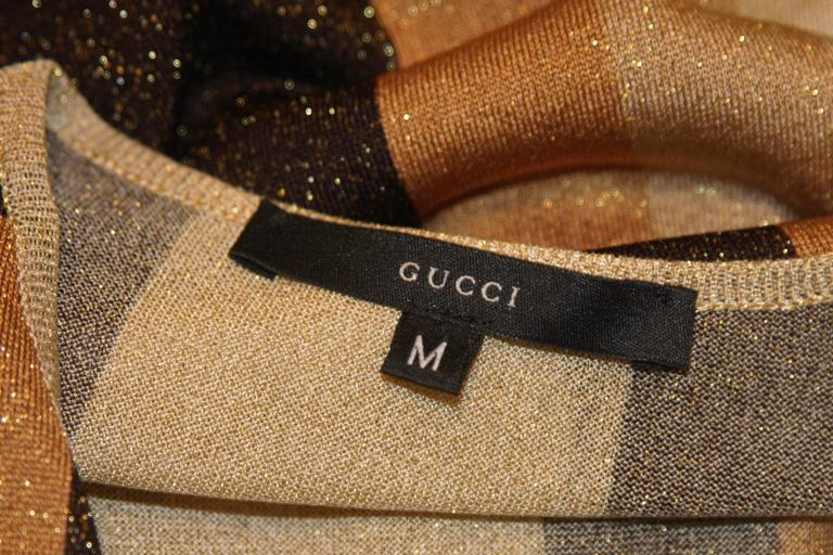 GUCCI Gold Brown and Sand Lurex Knit Tie Front Blouse Size M 8