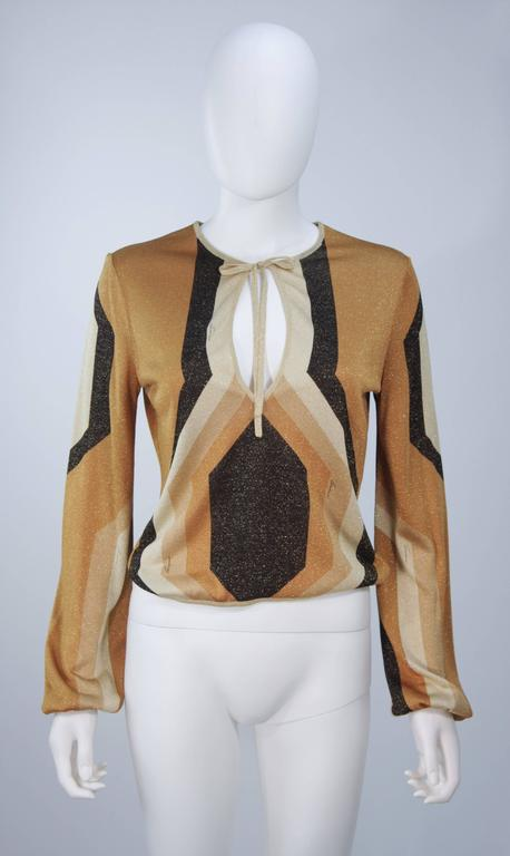 GUCCI Gold Brown and Sand Lurex Knit Tie Front Blouse Size M 2