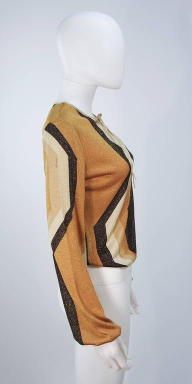 GUCCI Gold Brown and Sand Lurex Knit Tie Front Blouse Size M 5