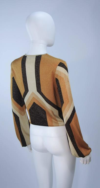 GUCCI Gold Brown and Sand Lurex Knit Tie Front Blouse Size M 6