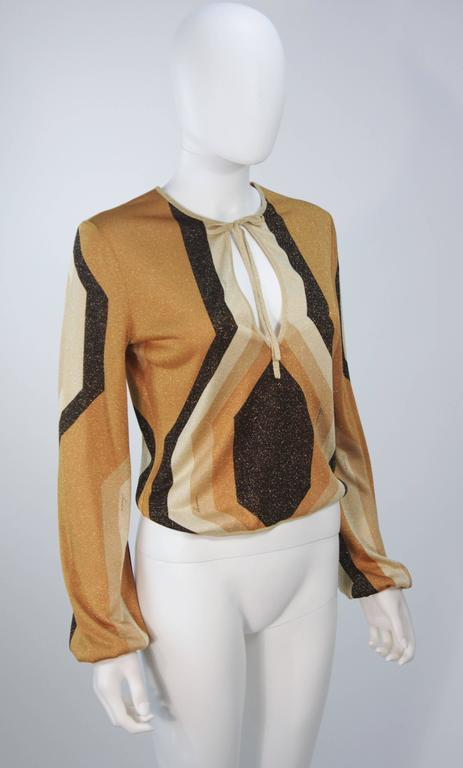 GUCCI Gold Brown and Sand Lurex Knit Tie Front Blouse Size M 4