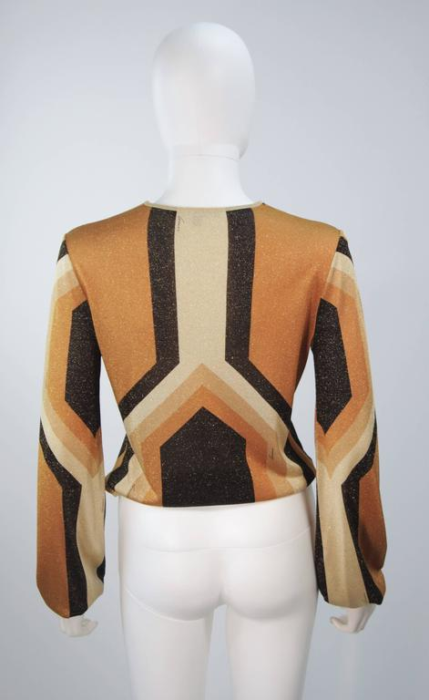 GUCCI Gold Brown and Sand Lurex Knit Tie Front Blouse Size M 7
