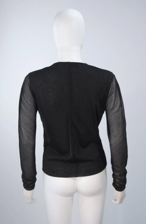 GUCCI Black Lurex Lion Head Blouse with Plunging Neckline Size 42 For Sale 4