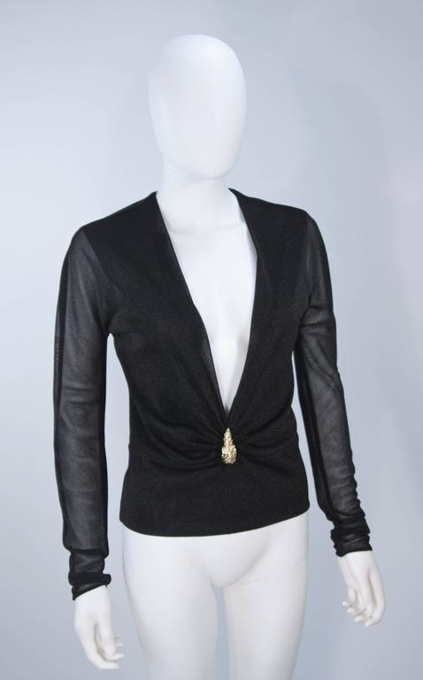 GUCCI Black Lurex Lion Head Blouse with Plunging Neckline Size 42 In Excellent Condition For Sale In Los Angeles, CA
