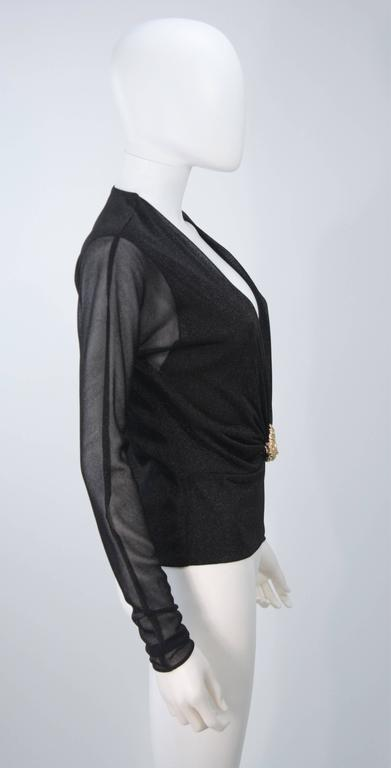GUCCI Black Lurex Lion Head Blouse with Plunging Neckline Size 42 For Sale 2