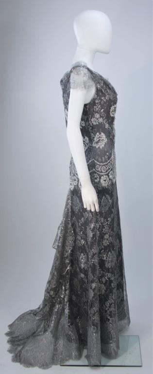 FE ZANDI Silver Lace Lame Gown with Scalloped Edges Size 8-10 For Sale 2