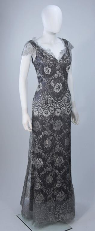 FE ZANDI Silver Lace Lame Gown with Scalloped Edges Size 8-10 For Sale 1