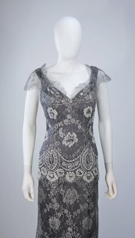 Women's FE ZANDI Silver Lace Lame Gown with Scalloped Edges Size 8-10 For Sale