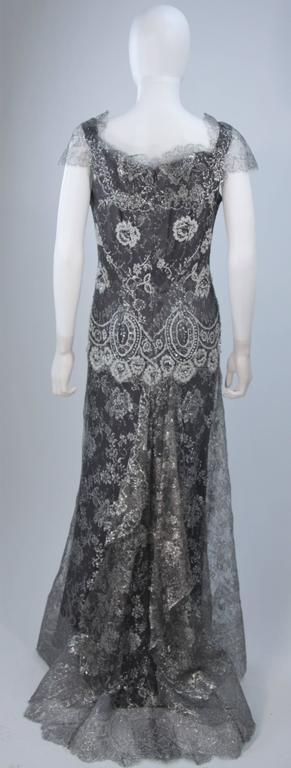 FE ZANDI Silver Lace Lame Gown with Scalloped Edges Size 8-10 For Sale 3