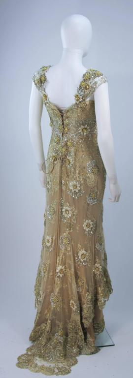 BARACCI Gold & Yellow Silk Lace Embellished Corset Gown Size 8-10 For Sale 3