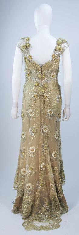 BARACCI Gold & Yellow Silk Lace Embellished Corset Gown Size 8-10 For Sale 4
