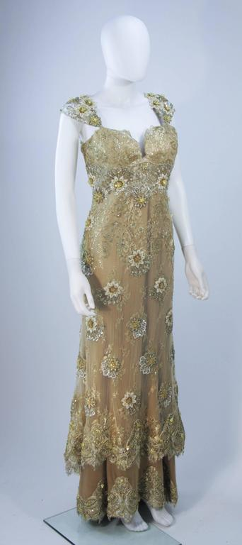 Women's BARACCI Gold & Yellow Silk Lace Embellished Corset Gown Size 8-10 For Sale