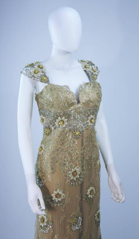 BARACCI Gold & Yellow Silk Lace Embellished Corset Gown Size 8-10 For Sale 1