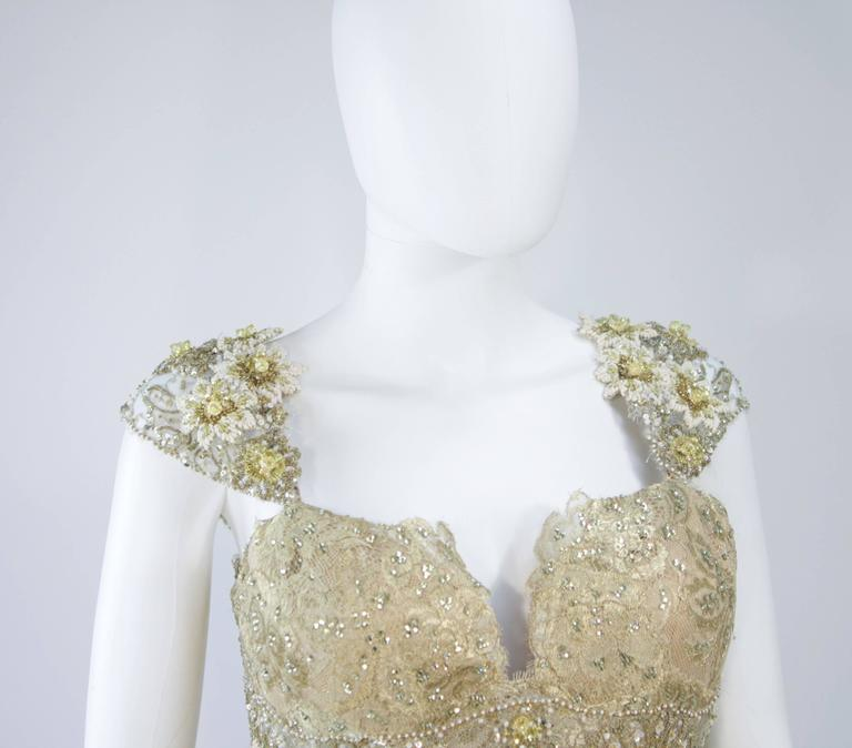 Brown BARACCI Gold & Yellow Silk Lace Embellished Corset Gown Size 8-10 For Sale