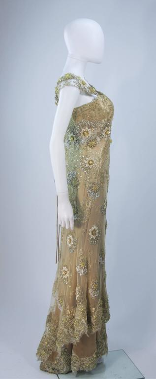 BARACCI Gold & Yellow Silk Lace Embellished Corset Gown Size 8-10 For Sale 2