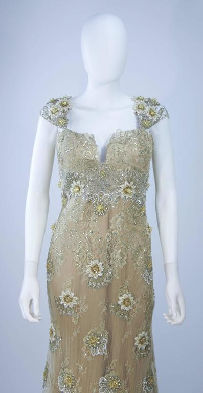 BARACCI Gold & Yellow Silk Lace Embellished Corset Gown Size 8-10 In Excellent Condition For Sale In Los Angeles, CA