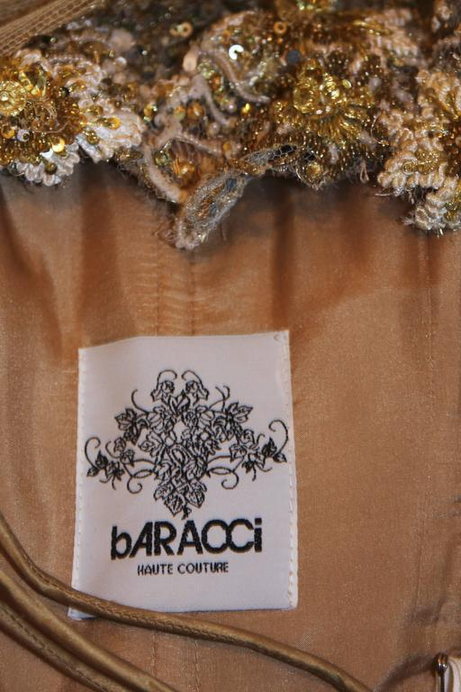 BARACCI Gold & Yellow Silk Lace Embellished Corset Gown Size 8-10 For Sale 5
