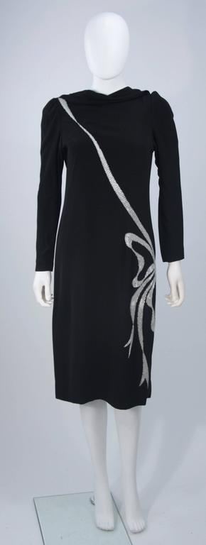BOB MACKIE Black Silk Draped Cocktail Dress with Bow Applique Size 4-6 2