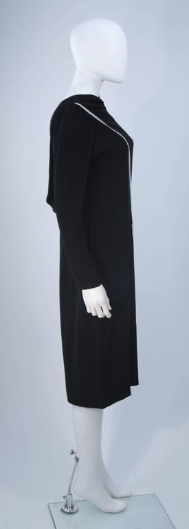 BOB MACKIE Black Silk Draped Cocktail Dress with Bow Applique Size 4-6 7