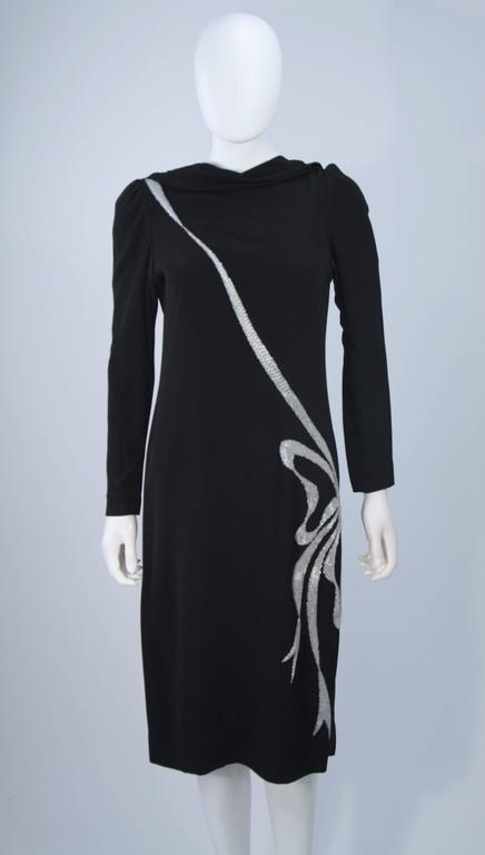 BOB MACKIE Black Silk Draped Cocktail Dress with Bow Applique Size 4-6 4