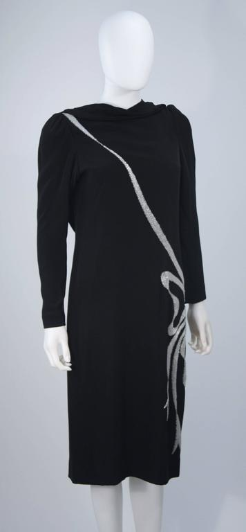 BOB MACKIE Black Silk Draped Cocktail Dress with Bow Applique Size 4-6 6