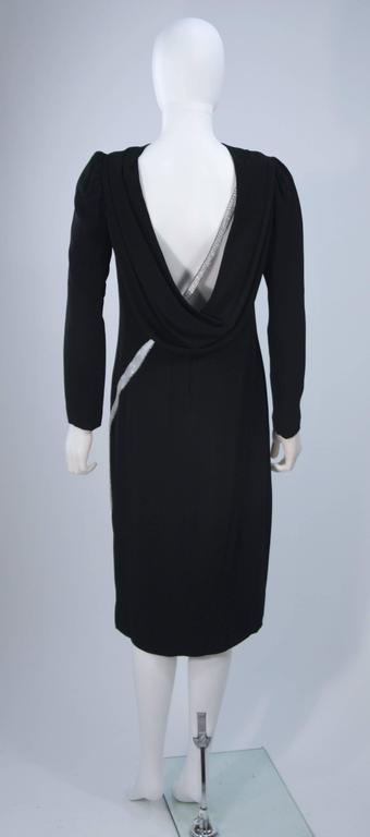 BOB MACKIE Black Silk Draped Cocktail Dress with Bow Applique Size 4-6 9