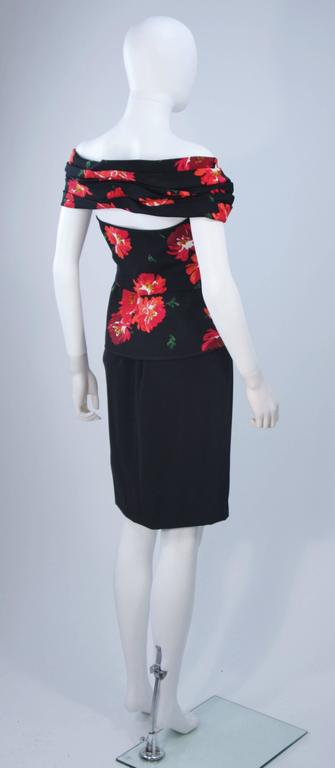ANDREA ODICINI Black Silk Floral Print Cocktail Dress with Peplum Size 42 For Sale 4