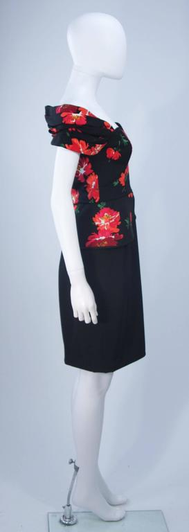 ANDREA ODICINI Black Silk Floral Print Cocktail Dress with Peplum Size 42 For Sale 3