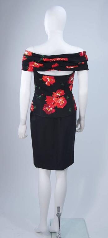 ANDREA ODICINI Black Silk Floral Print Cocktail Dress with Peplum Size 42 For Sale 5