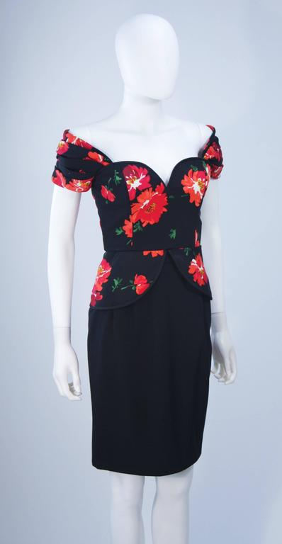ANDREA ODICINI Black Silk Floral Print Cocktail Dress with Peplum Size 42 For Sale 2