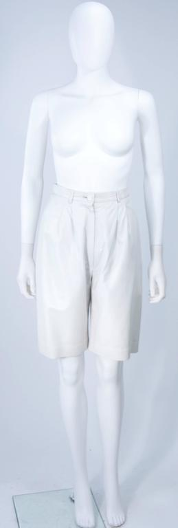 TED LAPIDUS Two Piece Off White Leather Short Set with Gold Studs Size 4 For Sale 4