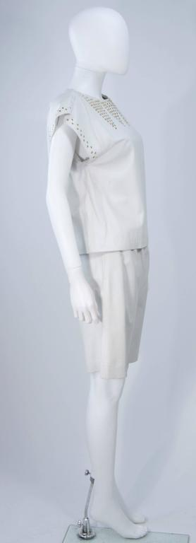 TED LAPIDUS Two Piece Off White Leather Short Set with Gold Studs Size 4 For Sale 1